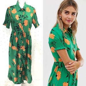 Wednesday's Girl Midi Dress in Bold Floral Sz L
